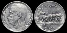 World Coins - 1920 R Italy 50 Centesimi - Vittorio Emanuele III