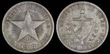 "World Coins - 1915 Cuba 20 Centavos ""Coarse Reeding - Low Relief Star"" XF"
