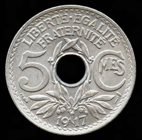 World Coins - 1917 France 5 Centimes BU