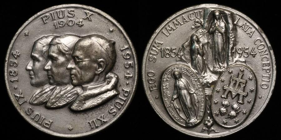 World Coins 1954 Vatican Pope Pius Ix X Xii 100th