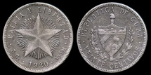"""World Coins - 1920 Cuba 20 Centavos """"Low Relief Star"""" XF"""