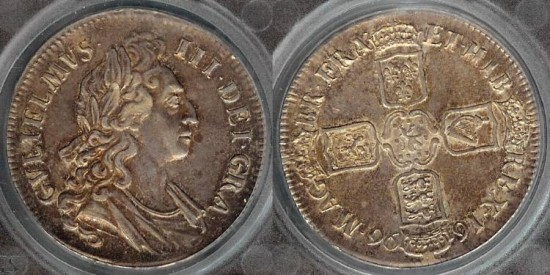 World Coins - 1696 Great Britain 1 Crown SEGS XF40