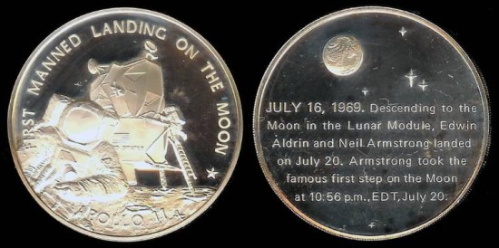 1969 Apollo 11 Lunar Landing Commemorative Medal Silver