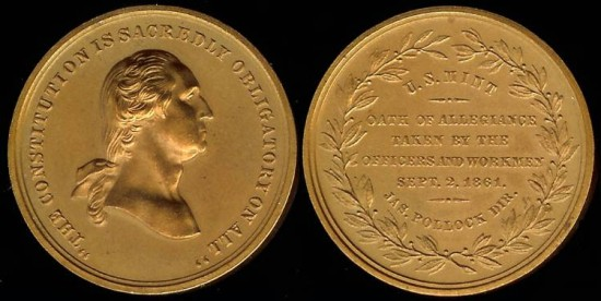 1861 Washington Constitution Obligatory - Philadelphia Mint Allegiance Medal