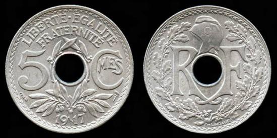1917 France 5 Centimes BU