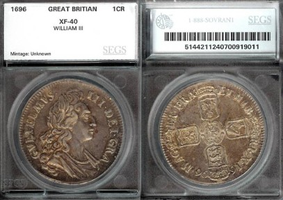 1696 Great Britain 1 Crown SEGS XF40