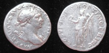 Ancient Coins - TRAJAN (AD 98-117) AR Denarius.  Rx. Victory, naked to hips, standing left