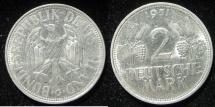 """World Coins - Germ. Federal: 1951-G  2 Mark (Key Mint Mark)  """"one year type""""  EF"""