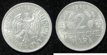 """World Coins - Germ. Federal:  1951-D  2 Mark """"one year type""""   VF+"""