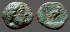 Ancient Coins - Caria, Stratonicea Æ12 / Hd of Zeus rt / Eagle rt in incuse square.