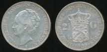 World Coins - Netherlands, Kingdom, Wilhelmina I, 1929 2-1/2 Gulden (Silver) - Extra Fine