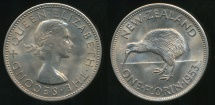 World Coins - New Zealand, 1953 Florin, 2/-, Elizabeth II - Uncirculated