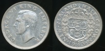 World Coins - New Zealand, 1943 1/2 Crown, George VI (Silver) - Very Fine