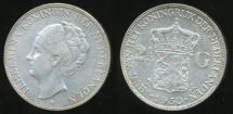 World Coins - Netherlands, Kingdom, Wilhelmina I, 1930 2-1/2 Gulden (Silver) - Extra Fine