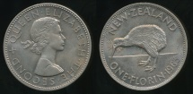 World Coins - New Zealand, 1963 Florin, 2/-, Elizabeth II - Uncirculated