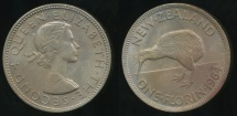 World Coins - New Zealand, 1964 Florin, 2/-, Elizabeth II - Uncirculated