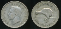 World Coins - New Zealand, 1945 Florin, 2/-, George VI (Silver) - Fine