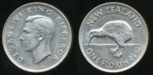 World Coins - New Zealand, 1942 Florin, 2/-, George VI - Extra Fine
