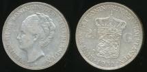 World Coins - Netherlands, Kingdom, Wilhelmina I, 1932 2-1/2 Gulden (Silver) - Very Fine