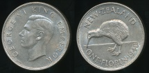 World Coins - New Zealand, 1940 Florin, 2/-, George VI (Silver) - Extra Fine
