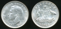 World Coins - Australia, 1944(s) Sixpence, 6d, George VI (Silver) - Uncirculated