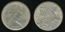 World Coins - Australia, 1966 Fifty Cents, 50c, Elizabeth II (Silver) - Extra Fine