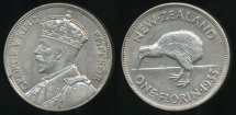 World Coins - New Zealand, 1933 Florin, 2/-, George V - Extra Fine