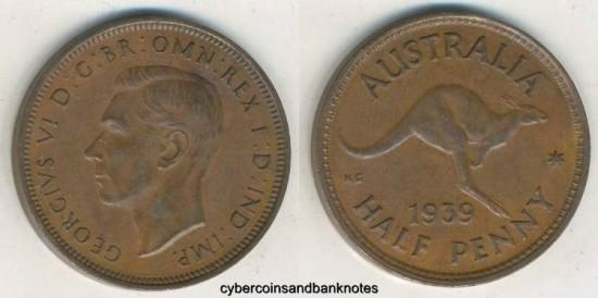 AUSTRALIA - 1939-Roo, Halfpenny, George VI - EF