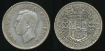 World Coins - New Zealand, 1944 1/2 Crown, George VI (Silver) - Fine