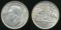 World Coins - Australia, 1942(m) Florin, 2/-, George VI (Silver) - Uncirculated