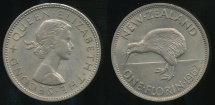World Coins - New Zealand, 1962 Florin, 2/-, Elizabeth II - almost Uncirculated