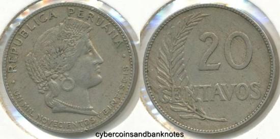 PERU - 1926, 20 Centavos - KM# 215.1 - VF
