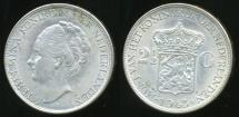 World Coins - Netherlands East Indies, Kingdom of Netherlands, Wilhelmina I, 1943-D 2-1/2 Gulden (Silver) - almost Uncirculated