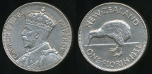 World Coins - New Zealand, 1934 Florin, 2/-, George V - Extra Fine