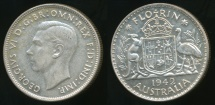 World Coins - Australia, 1942(m) Florin, 2/-, George VI (Silver) - almost Uncirculated
