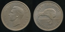 World Coins - New Zealand, 1951 Florin, 2/-, George VI - Uncirculated