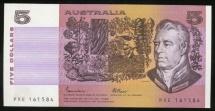 World Coins - Australia, 1985 Five Dollars, $5, Johnston/Fraser, R209a (OCR-B) - Uncirculated