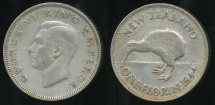 World Coins - New Zealand, 1944 Florin, 2/-, George VI (Silver) - Fine