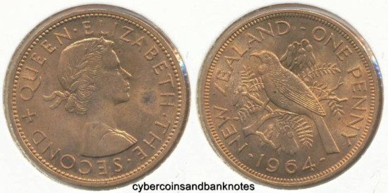 NEW ZEALAND - 1964 Penny, Elizabeth II - Unc