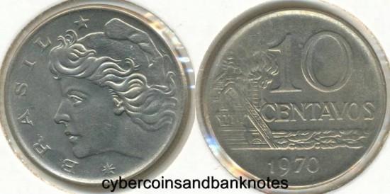 BRAZIL - 1970 10 Centavos, KM# 578.2 - BU