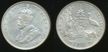 World Coins - Australia, 1931 Florin, 2/-, George V (Silver) - almost Uncirculated