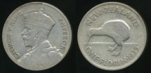 World Coins - New Zealand, 1935 Florin, 2/-, George V (Silver) - Fine