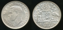World Coins - Australia, 1952(m) Florin, 2/-, George VI (Silver) - almost Uncirculated
