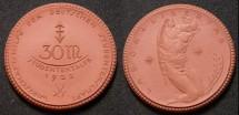 World Coins - Large German brown porcelain coin, 30 Marks - Studententaler