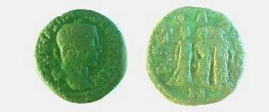 Maximinus I AE25 of Anchialus.  AGCIALEWN, three female figures (Demeter, Persephone & Hecate?), wearing long dresses, standing together.