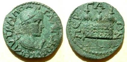 Gallienus AE28 10-assaria of Pamphylia, Perga.  Chest with three purses above.