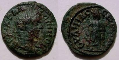 Gallienus AE26 of Serdica, Thrace. Asklepios standing right leaning on serpent staff.