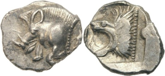 MYSIA KYZIKOS ( CYZICUS ) 525-475 BC AR OBOL LION TUNNY  0,38 gr - 8 mm   (VC471)