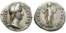 Ancient Coins - SABINA. SILVER DENARIUS. GOOD PORTRAITURE IN HIGH RELIEF