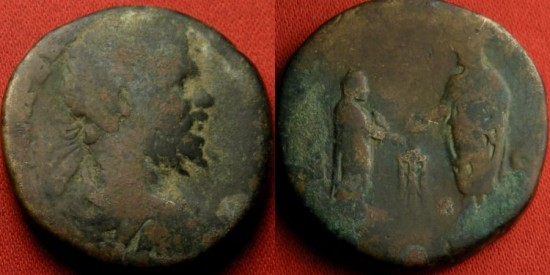 Ancient Coins - SEPTIMIUS SEVERUS AE sestertius. Rome, 197 AD. VOTA PVBLICA, Severus & Caracalla sacrificing over altar. Very scarce.